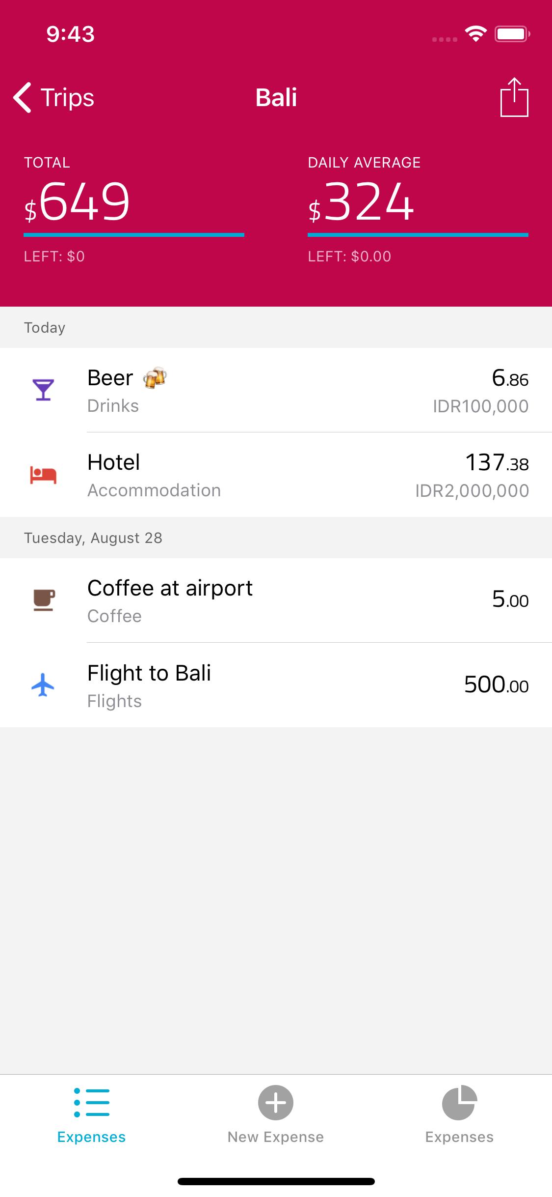 Travelspend App